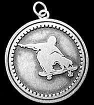 SKATE BOARD Faith God prayer Charm Solid Sterling Silver 925 Boarding Jewelry