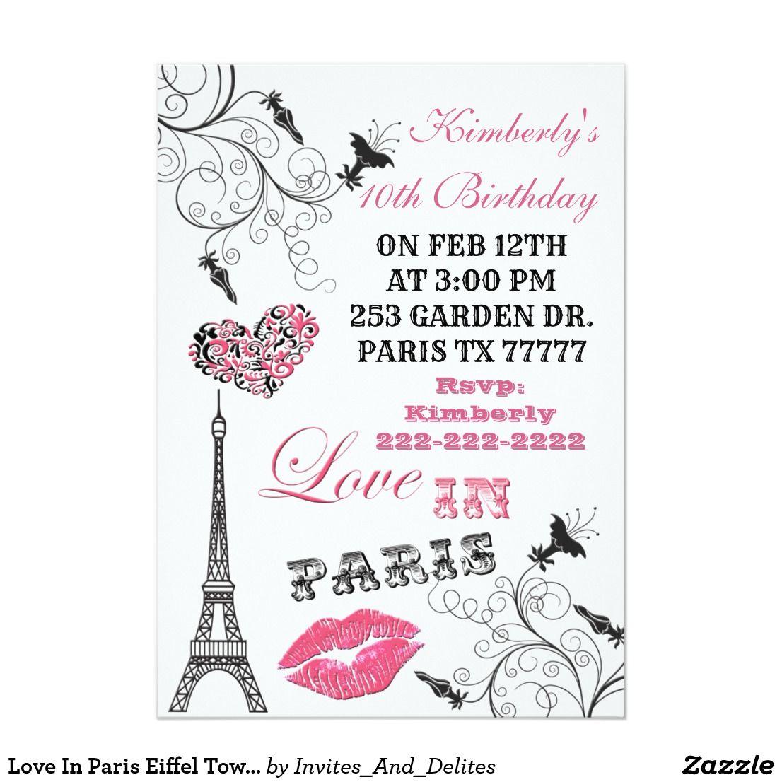 Love In Paris Eiffel Tower Party Invitation | .Zazzle | Pinterest ...