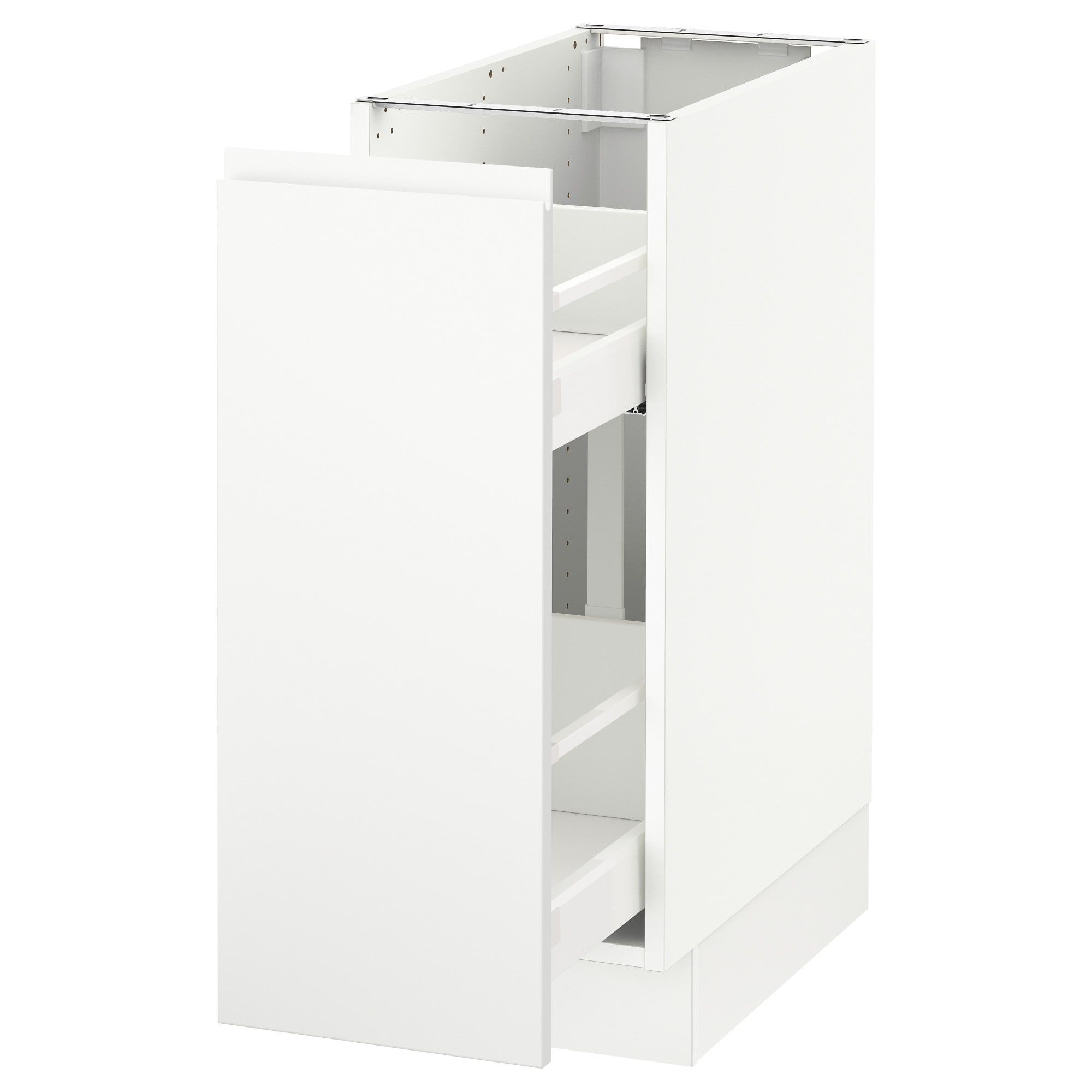 Sektion Base Cabinet With Pull Out Storage White Voxtorp Matt White White 12x24x30 Ikea In 2021 Base Cabinets Ikea Storage