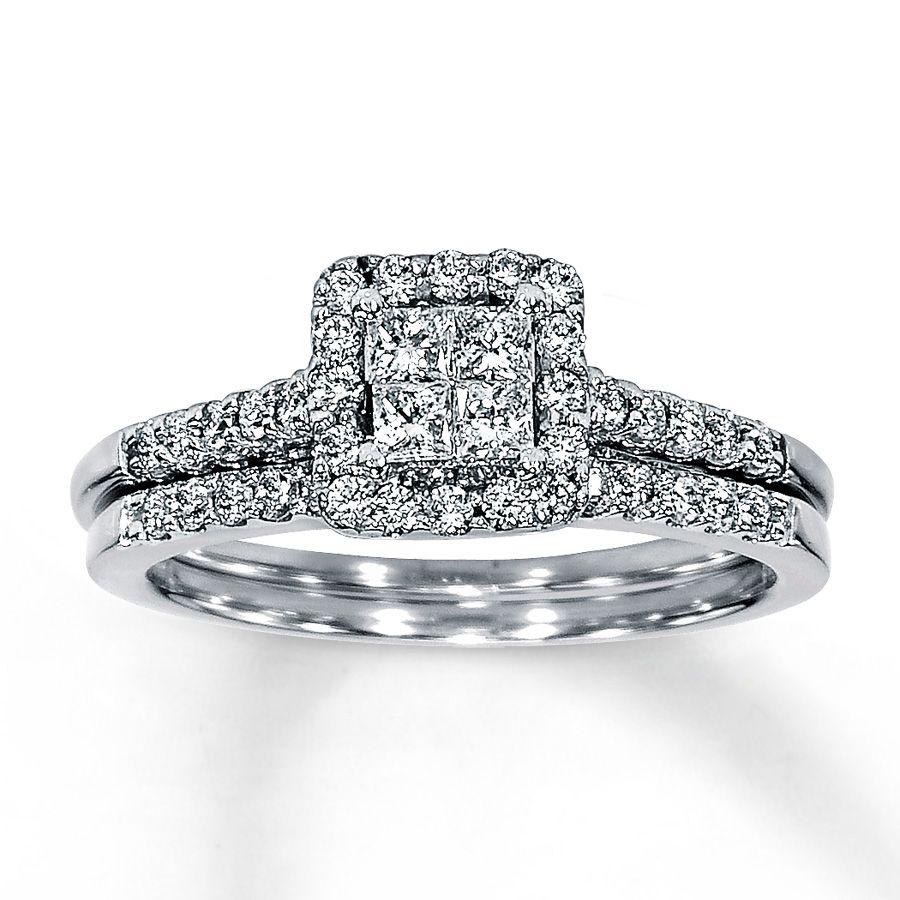 jared diamond bridal set 58 ct tw 14k white gold