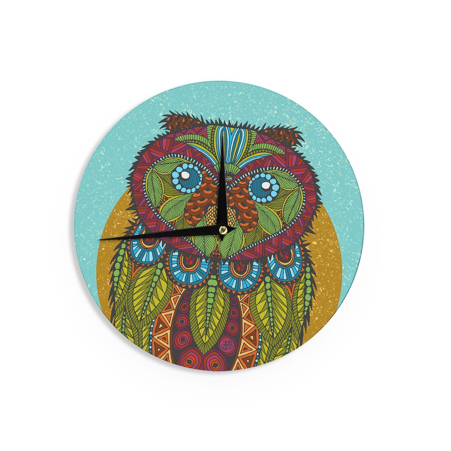 "Kess InHouse Art Love Passion Owl"" Teal Multicolor Wall Clock 12"" (Owl), Blue (Wood)"
