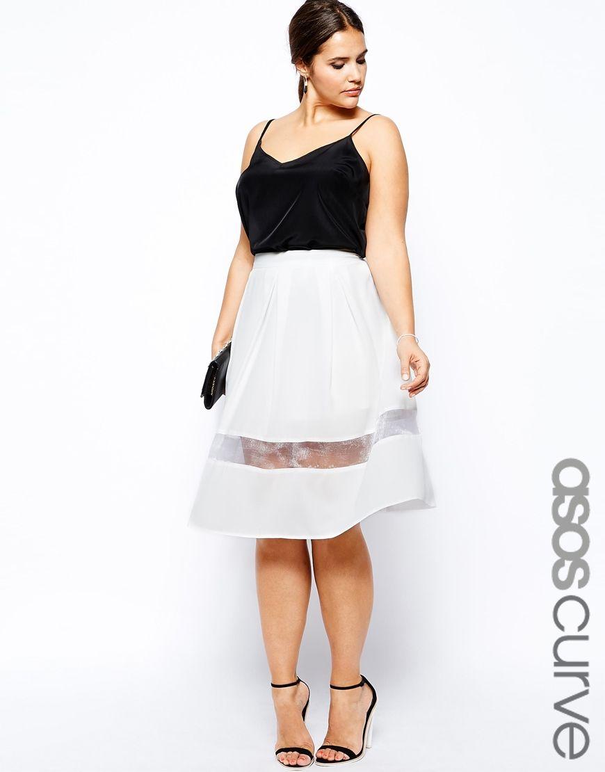 ASOS CURVE - Full Midi Skirt With Mesh Panel | { Plus size ...