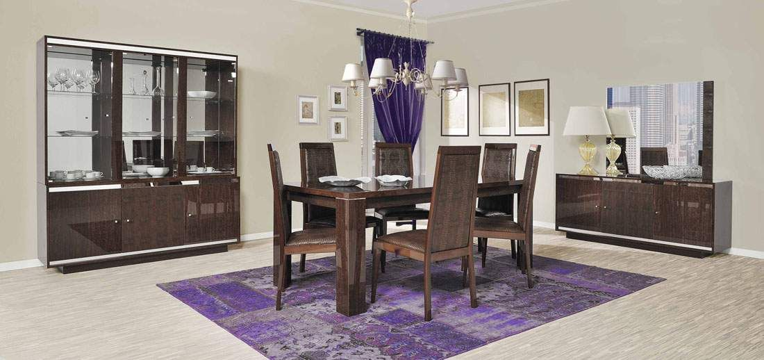 Extendable Rectangular Wood And Leather Italian Modern Dining Room With Leaf Rochester New York Esfstatus