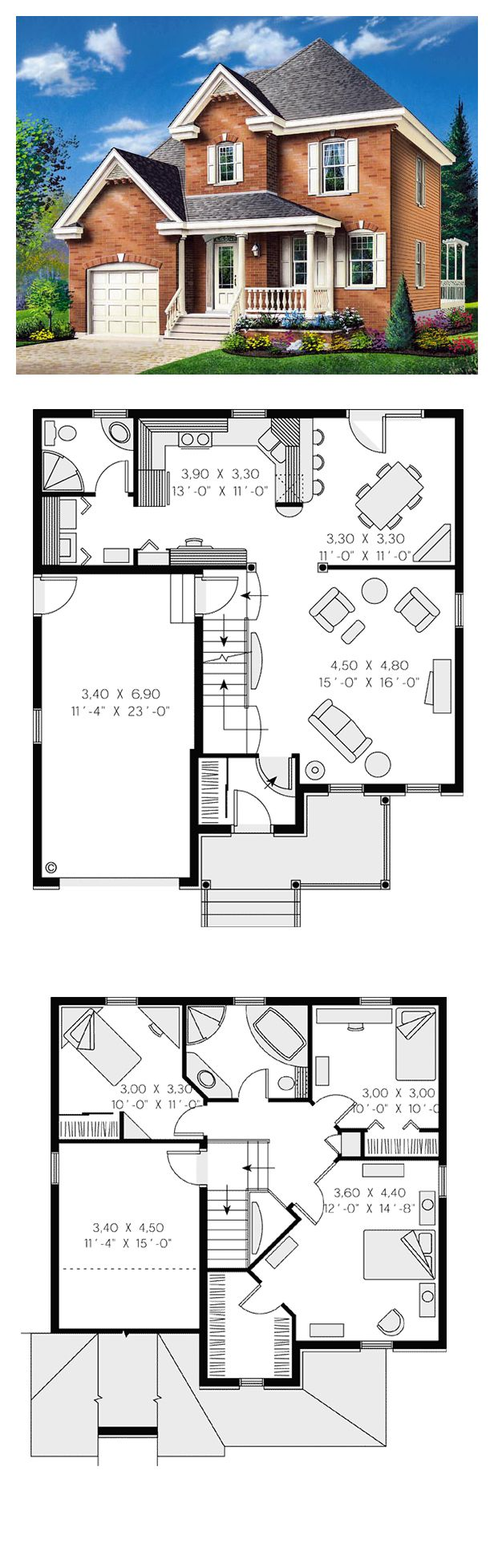 Colonial House Plan 65280 | Total Living Area: 1448 sq. ft., 3 bedrooms & 2 bathrooms. Distinctive elements: Built-ins, front porch, unfinished bonus space on second level above garage. #houseplan #colonialstyle