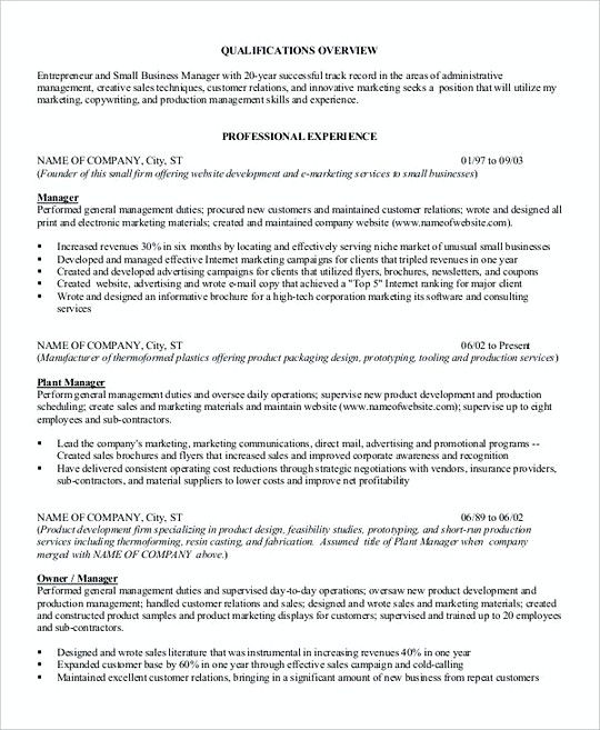 Resume Company Small Business Manager Resume Template  Professional Manager Resume .