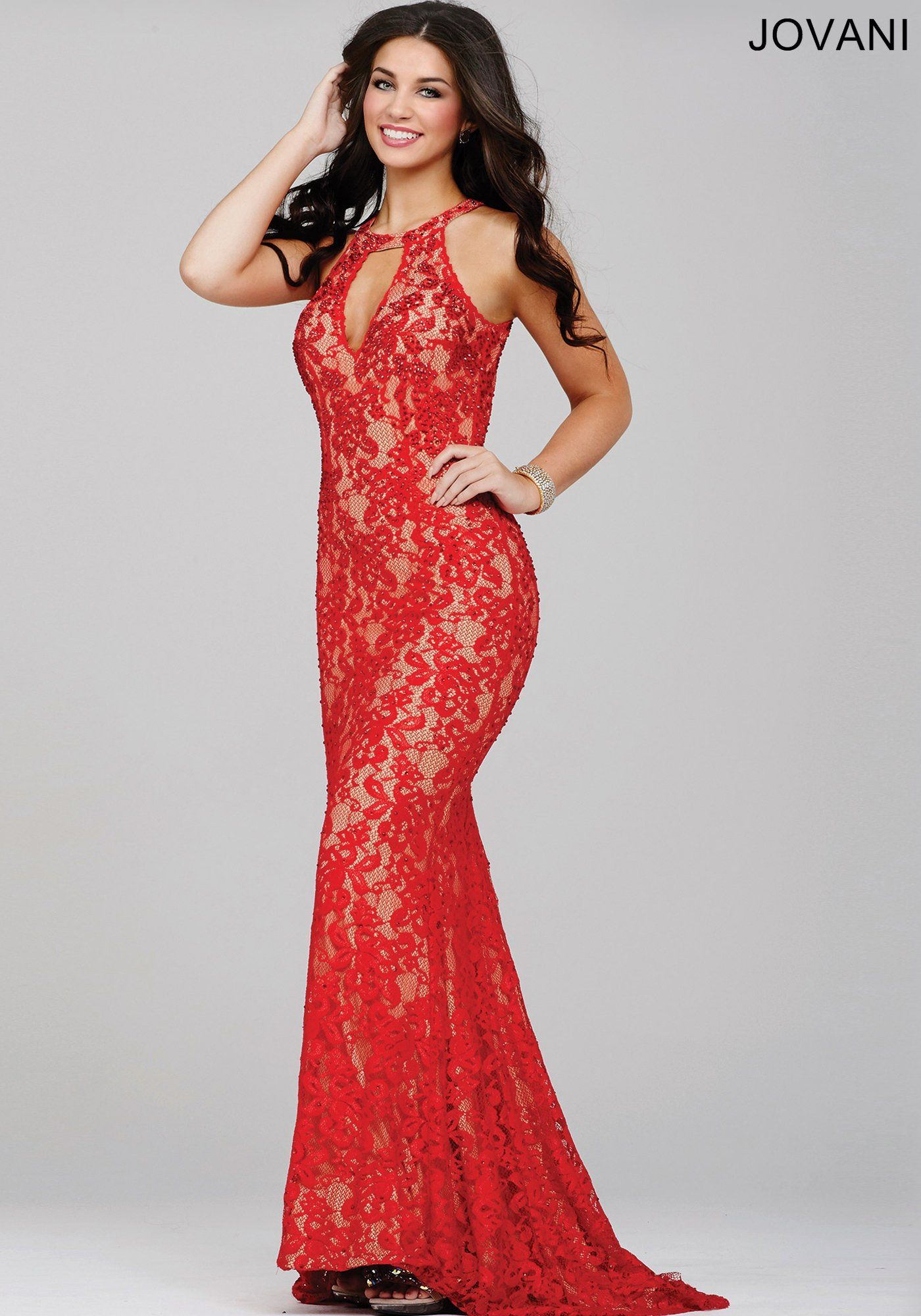 Red sleeveless fitted lace prom dress prom gowns pinterest