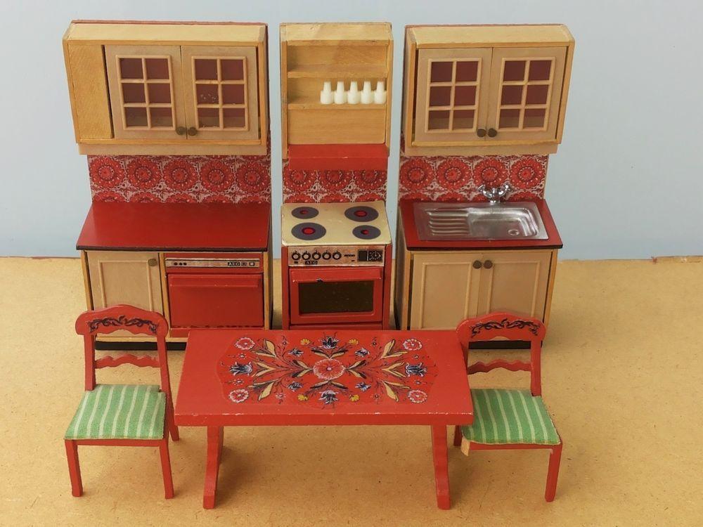 Puppenstube lundby 70er 80er küchen schränke herd spüle spülmaschine tisch stuhl