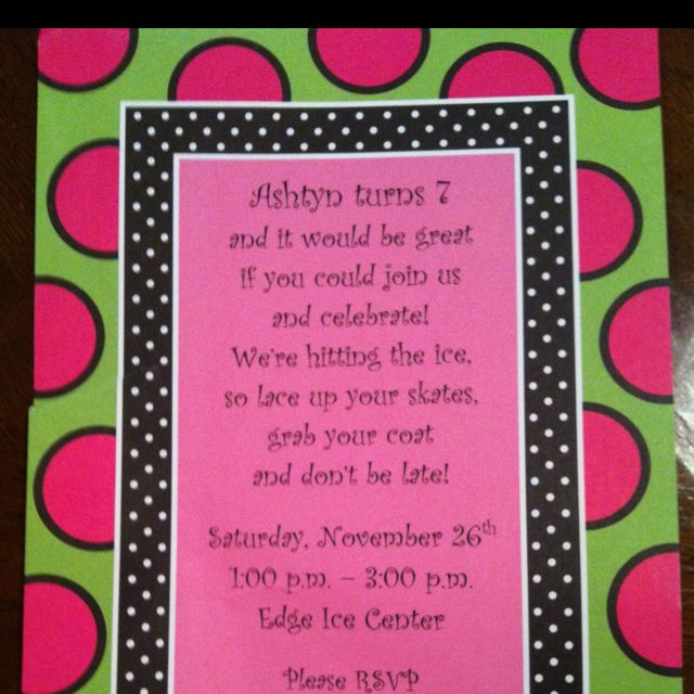 Ice Skating Birthday Party Invitation Wording Games