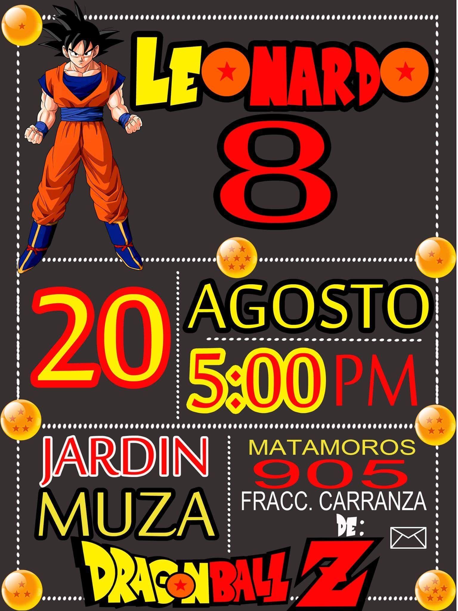 Invitación Dragón Ball Invitaciones De Cumpleaños Fiesta