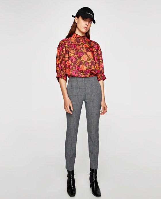 pantalon gris carreaux femme zara