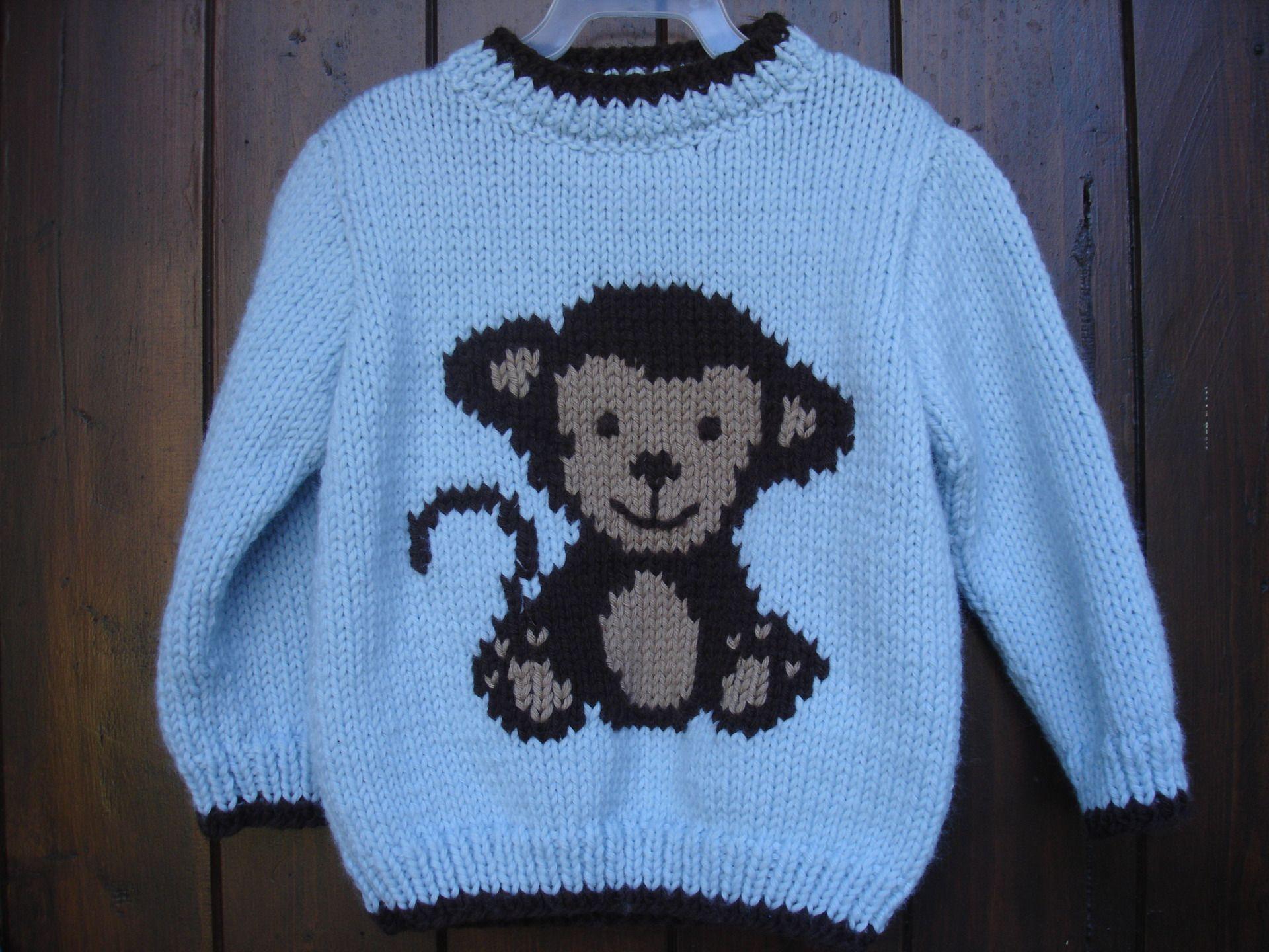 Pull bébé motif singe de 9 mois à 2 ans 100% fait main   Mode Bébé par  souricette-creation 6612d6d51ca