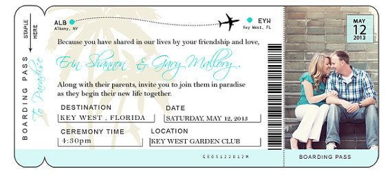 DIY Airline Ticket Invitation Ticket invitation, Wedding and Event