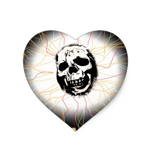 Electric shock skull heart sticker halloween holiday creepyhollow stickers