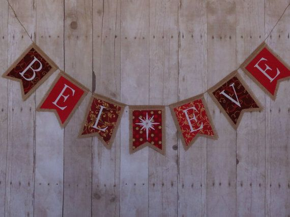 Believe burlap banner gold and red Christmas by ThePartyOrchard