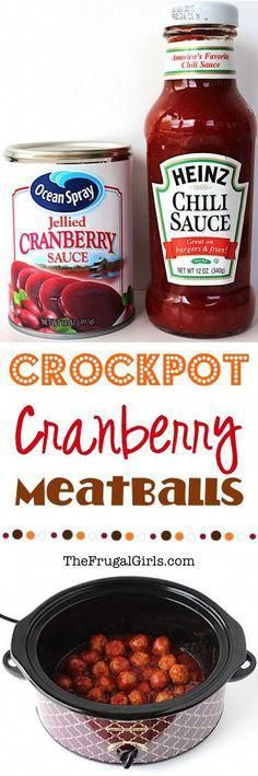 Easy Crockpot Cranberry Meatballs Recipe! ~ from  ~ wow your holiday guests with these crazy delicious, sweet and tangy Crock Pot Meatballs!  Just 3 ingredients and always the STAR of the party!!