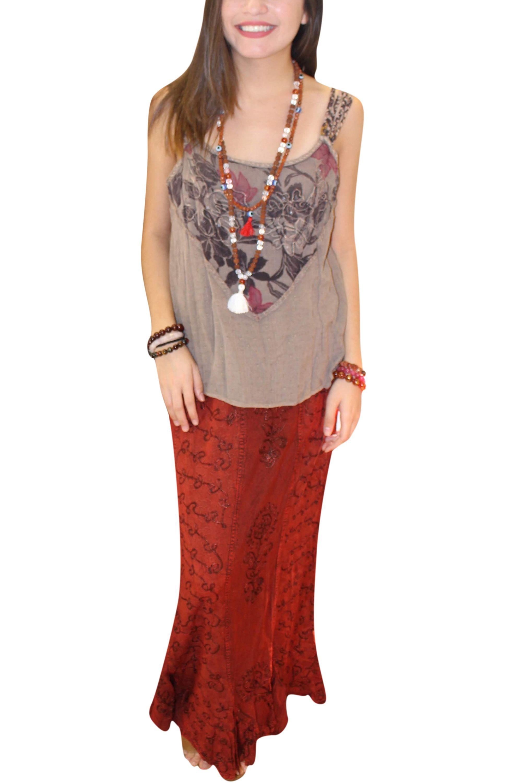 e7b20d5a83575 Mogul Interior - Mogul Women's Red Skirt Emnbroidered Elastic Waist ...