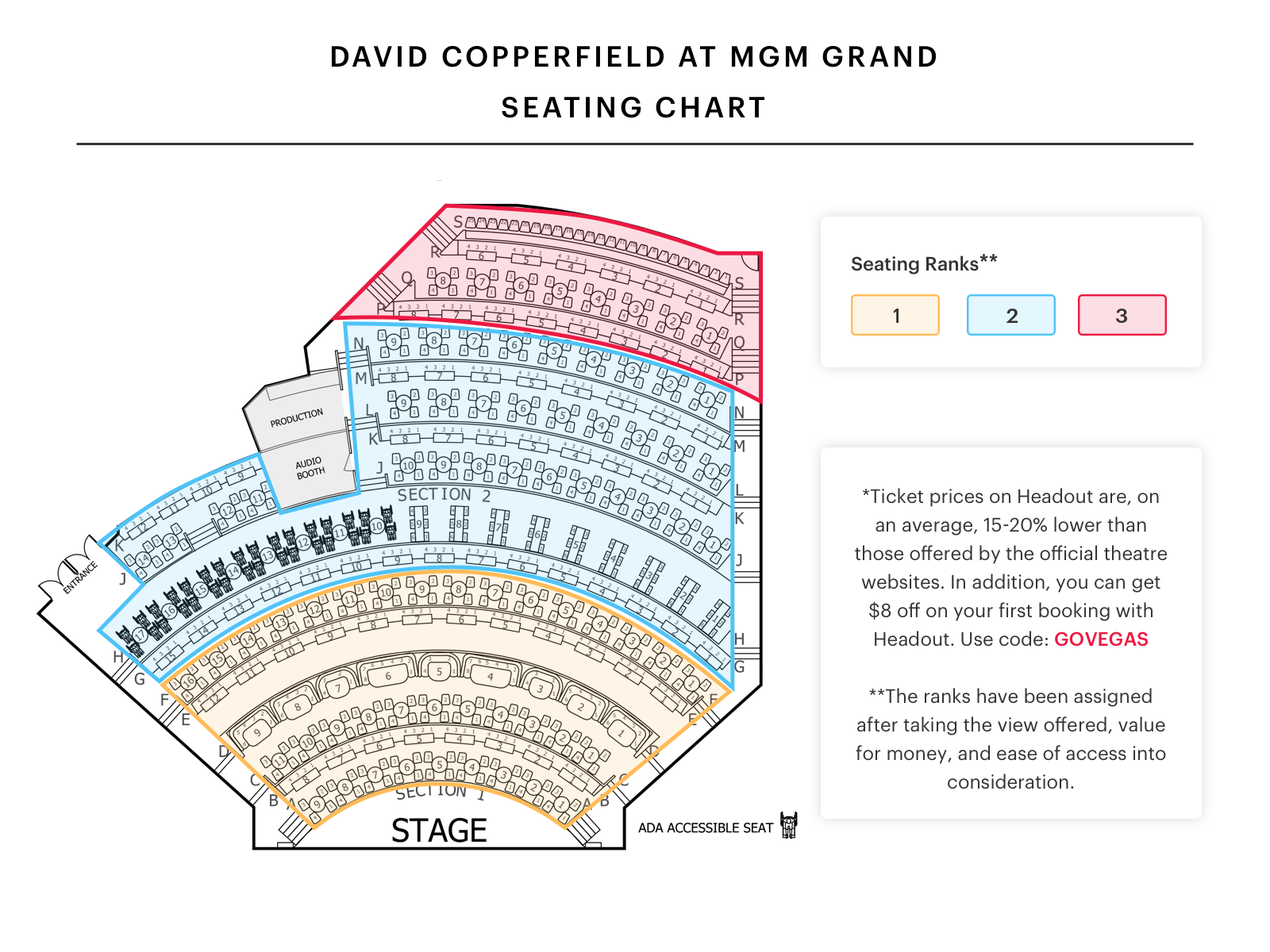 David Copperfield Las Vegas Show Seating Chart In 2020 Seating Charts Las Vegas Shows Chart