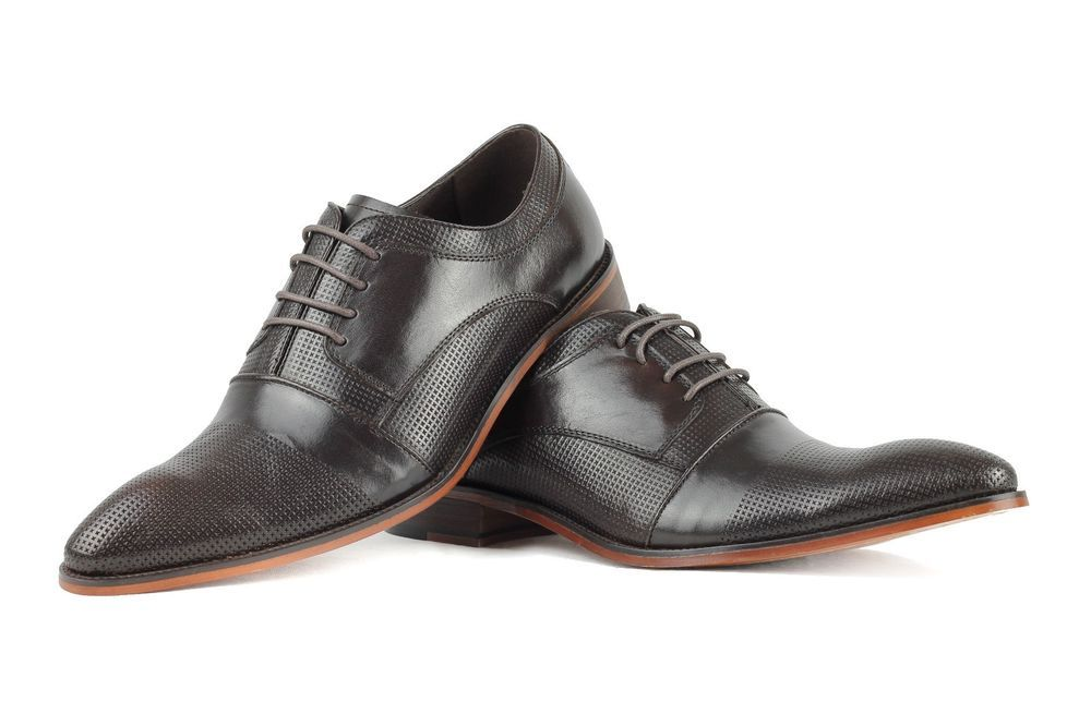 Mens Real Leather Dark Brown Perforated Lace Up Derby Formal Office Shoes
