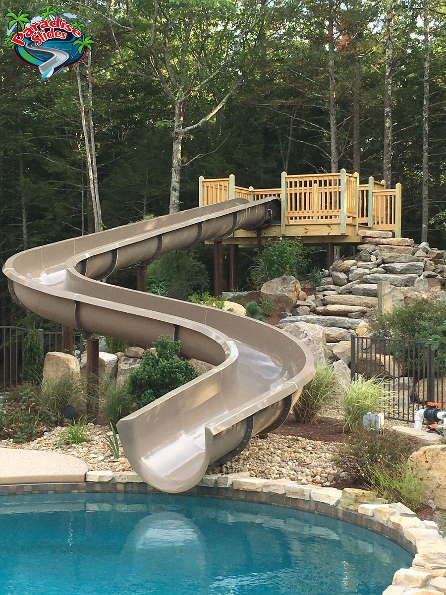 Pin by paradise slides inc on water slides pool house - Commercial swimming pool water slides ...