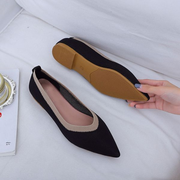 Black Knit Pointed Toe Flat