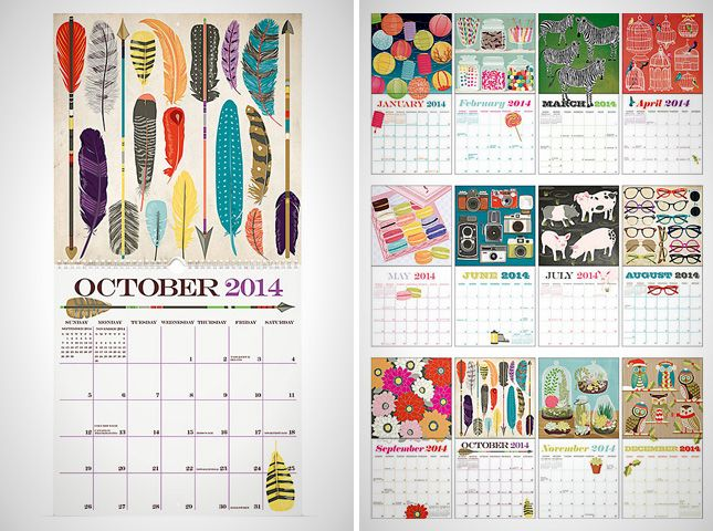 Calendar Art : I love the bright eye popping colors with a concept as