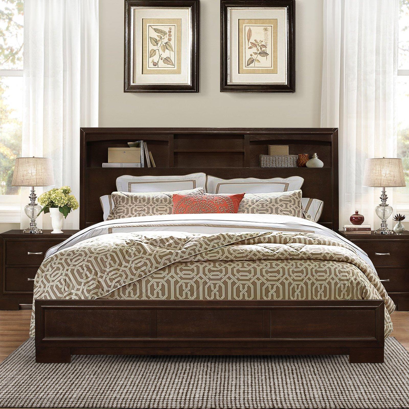 Roundhill Furniture Montana Bookcase Platform Bed, Size