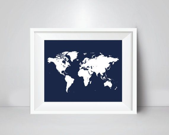 World map large 36x24 20x16 size print navy blue wall decor world map adveture awaits wall art print instant download digital files stop waiting for gumiabroncs Image collections
