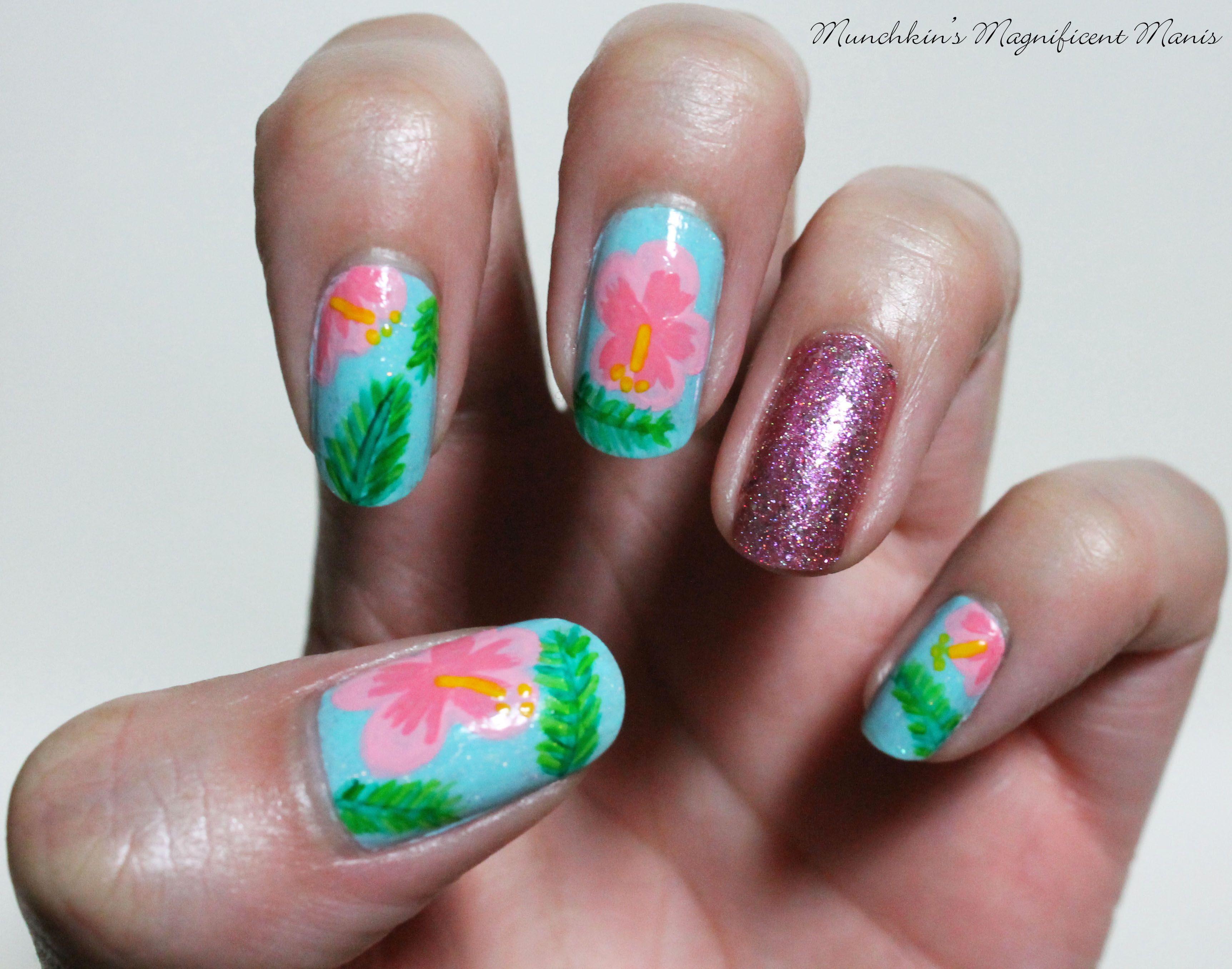 Aloha Flowers Hibiscus Flower Nail Design Pinterest Flower Nail