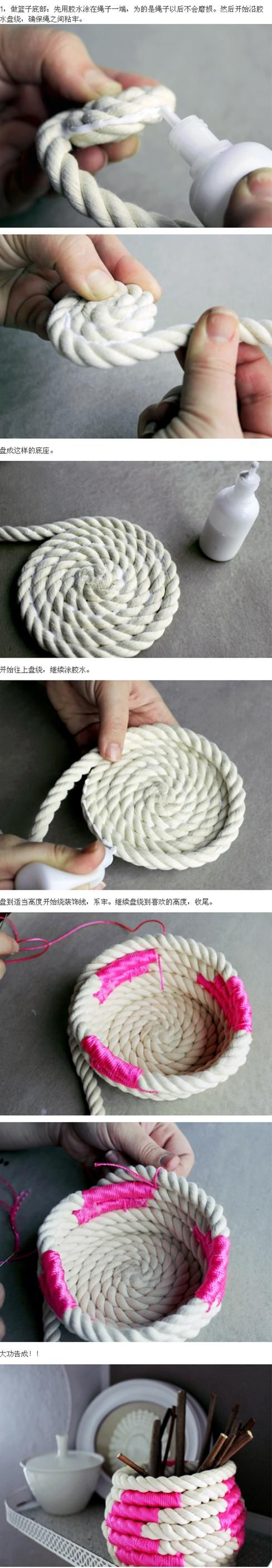 Rope Bowl. Love it!  Maybe this could work for a rope laundry basket, instead of glue use a tying technique to hold rows together.  ?