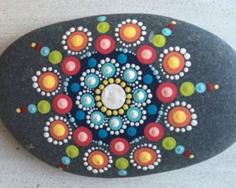 Hand painted mandala stone by LoveTheDotShop on Etsy