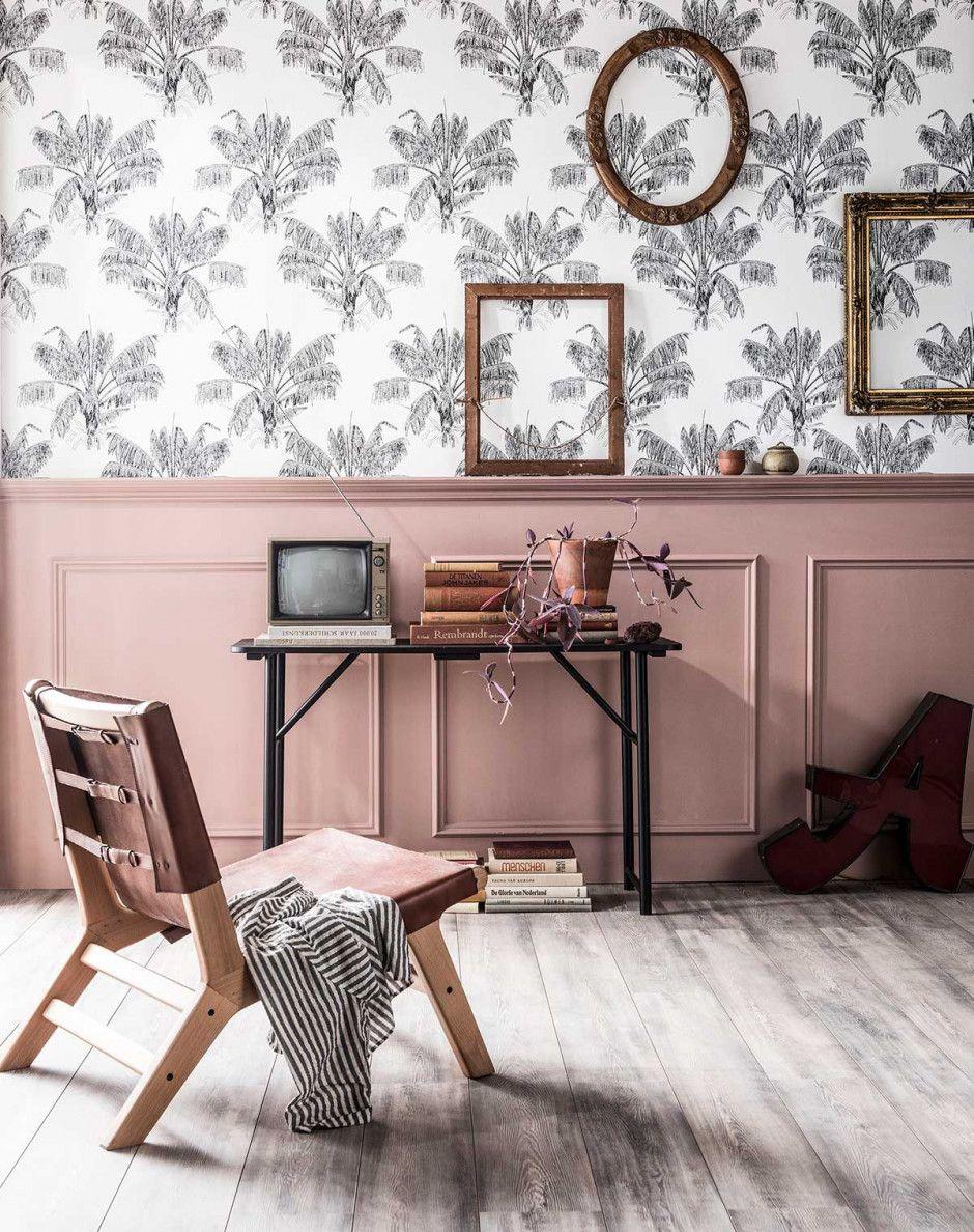 Tree Design Wallpaper Living Room: PALM TREE BEHANG • Het Hand Getekende Palmboom Vliesbehang