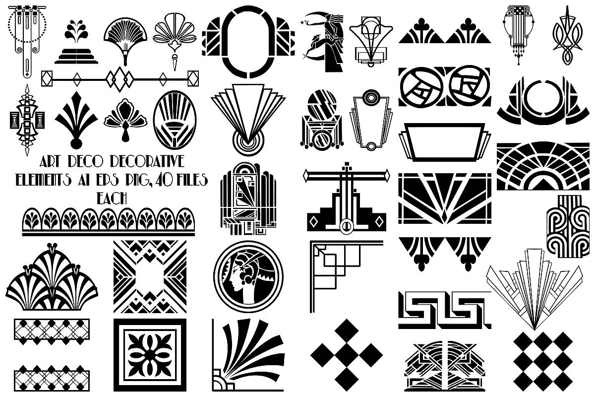 Art Deco Decorative Elements Ai Eps Png Gatsby Style 159392 Illustrations Design Bundles Art Deco Design Graphics Art Deco Design Art Deco