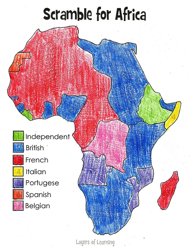 Scramble For Africa Map | Africa | 7th grade social studies
