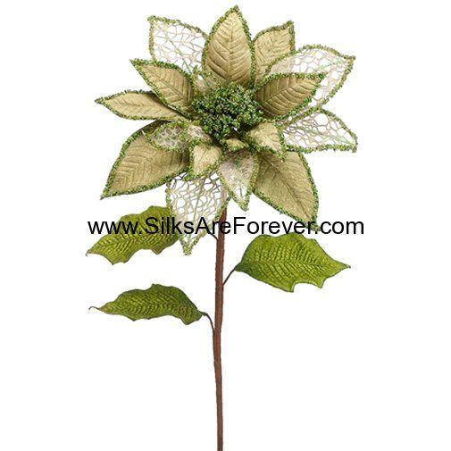36 Silk Glittered Velvet Poinsettia Flower Spray Green Flower Spray Poinsettia Flower Poinsettia