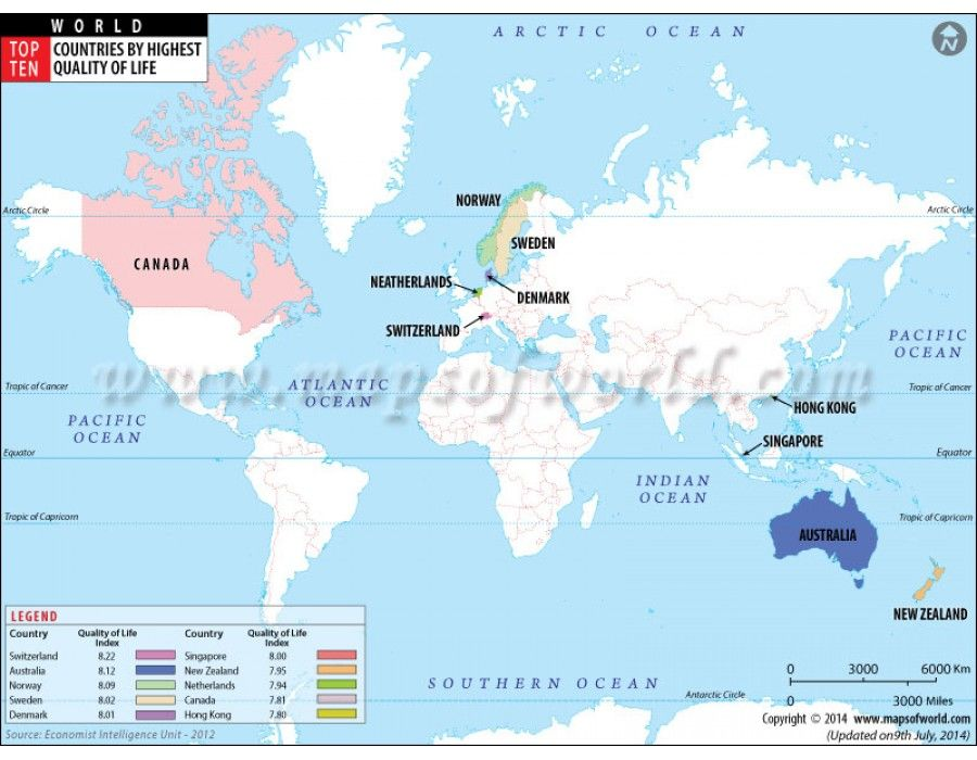 Buy thematic map showing top ten countries of world with highest buy map of top ten countries with highest quality of life online download online gumiabroncs Image collections