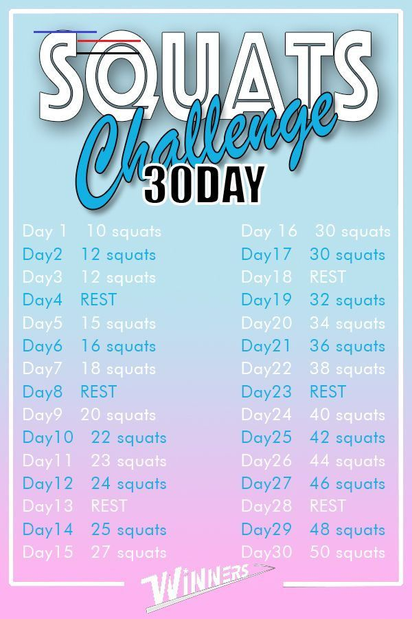 30 DAY Squats Challenge Time to squats! Try this plan. 10 squats ➡ 50 squats! #fitness #squats #squa...