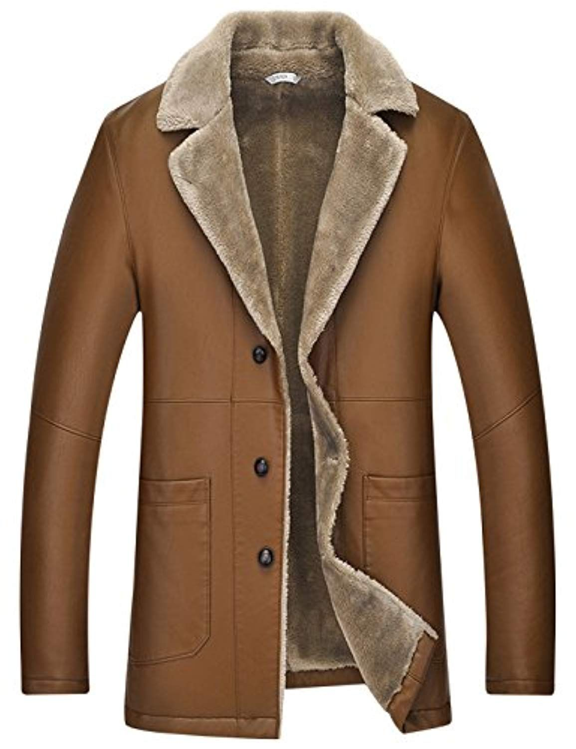 Men's Casual Slim Sherpa Lined Shearling Faux PU Leather