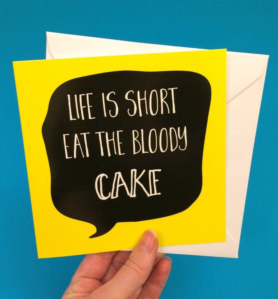 Eat Cake Birthday Card Diet Birthday Card Lukanna Designs Cute