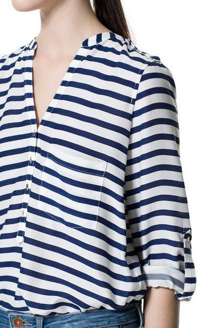 productos de calidad productos de calidad 100% autentico BLUSA ESTAMPADA RAYAS - Camisas - Mujer - ZARA Colombia ...