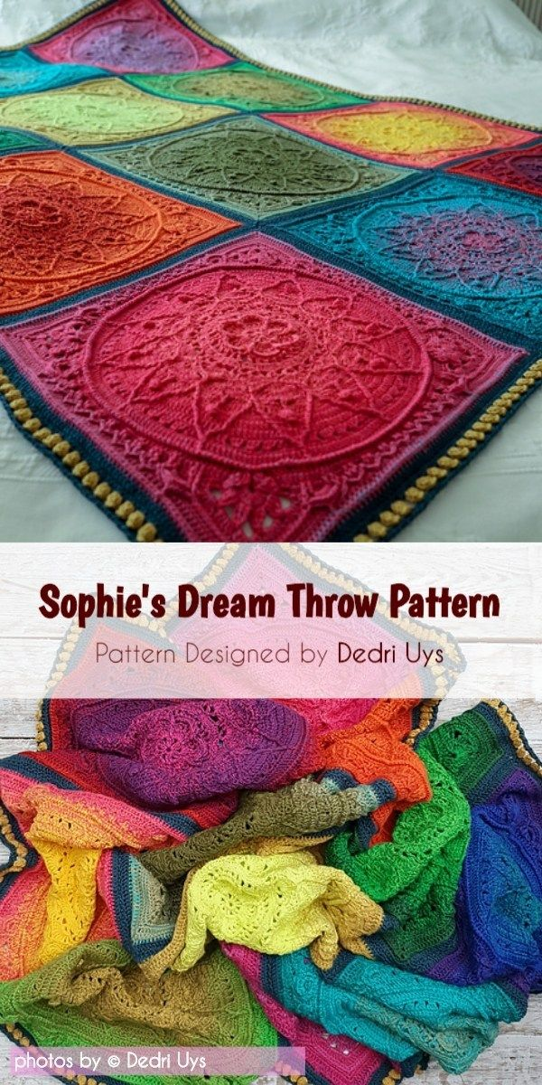 Crochet Sophie's Dream Throw Free Crochet Pattern #crochetmandalapattern