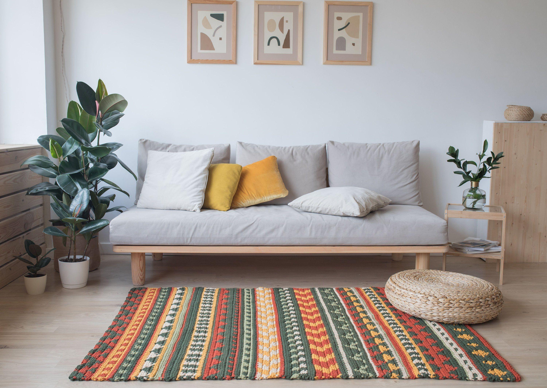 Orange And Green Area Rug Crochet Rug Pattern Designed By Etsy Crochet Rug Patterns Rugs On Carpet Rug Pattern