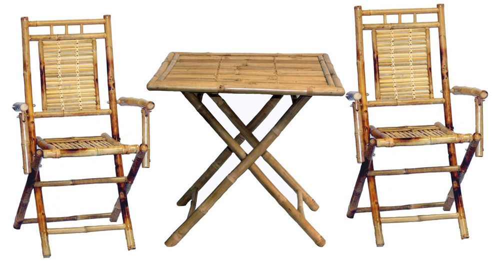 Table Chairs Bamboo 3 Piece Bistro Set | Bistro set, Outdoor living ...