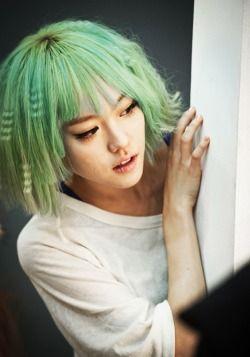 I like her. green girl
