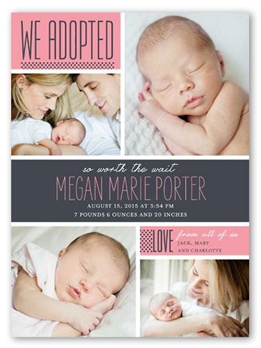 We Adopted A Girl 6x8 Stationery Card Announcements Shutterfly