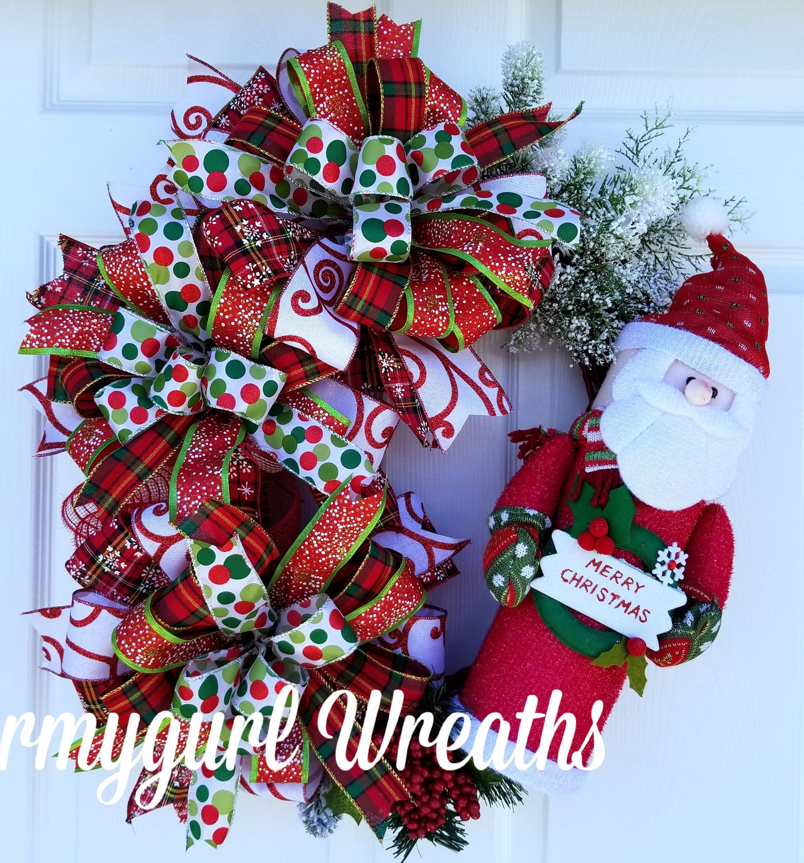 Christmas Grapevine Santa Wreath Red And White Winter Wreath Holiday