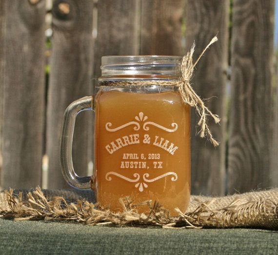 Etched Gl Mason Jar Gles Personalized Wedding Favors Drinking