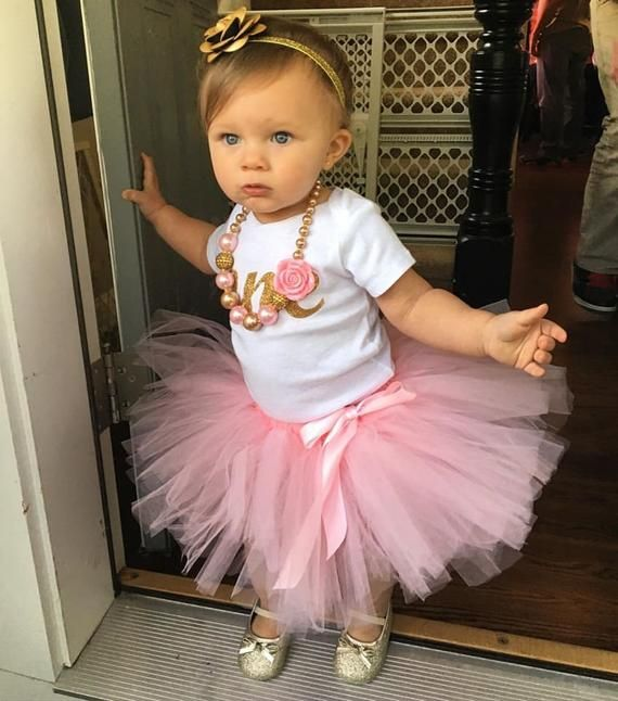 Baby Girl First Birthday Pink And Gold Tutu And Headband Included