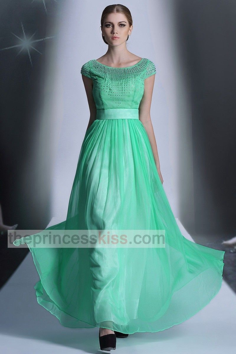 New Arrival Short Sleeves Jewel Green Crystal Long Formal Bridesmaid ...
