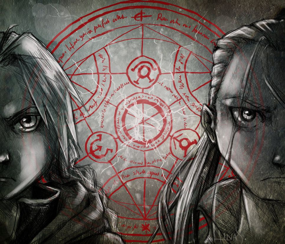 Elric and Hohenheim. by Caoranach