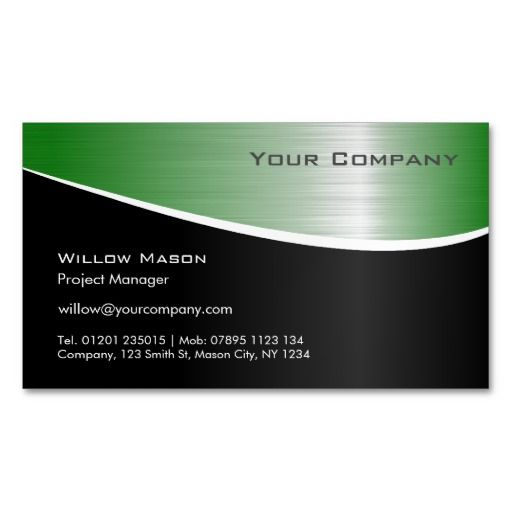 Black Green Stainless Steel Magnetic Business Card Zazzle Com Magnetic Business Cards Cards Business Cards